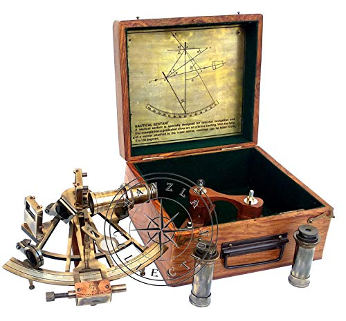 Hanzla Collection Maritime antikes Messing Henry Barrow Nautical Ship Sextant 20,3 cm mit extra 2 Teleskop
