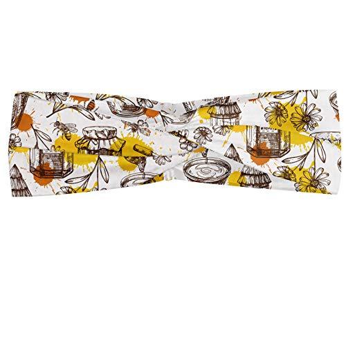 ABAKUHAUS Schetsen Hoofdband, Honing Jars Drops and Bees, Elastische en Zachte Bandana voor Dames, voor Sport en Dagelijks Gebruik, White Mosterd Ginger
