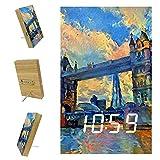 Reloj despertador digital, pantalla LED grande, puerto cargador USB, función de repetición, reloj de espejo moderno, adecuado para la pintura al óleo del dormitorio London Bridge