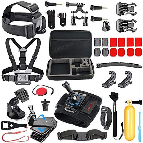 56-en-1 Kit Accessoires pour GoPro Hero 9 Black Max Hero 8 7 6 5 Session 4 3 Crosstour, APEMAN, AKASO, YI Caméra Action Sport, avec Perche Harnais Support Gopro Fixation Poignée Flottante Boîtier