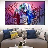 KWzEQ Cartel de la película del héroe de la Muchacha del Joker e Imagen de la Pared cómica de la Pintura del Arte de la impresión,30X50cm,Pintura sin Marco