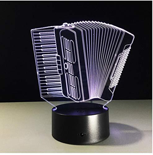 Lámpara LED 3D de acordeón con luz visual táctil 3D para escritorio, dormitorio, iluminación para niños, cumpleaños, regalos de Navidad