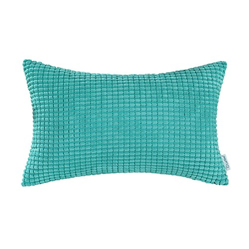 CaliTime Cozy Pillow Cover Case for Couch Sofa Bed Comfortable Supersoft Corduroy Corn Striped Both Sides 12 X 20 Inches Turquoise