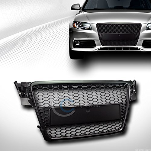 VXMOTOR for 2009-2012 Audi A4 B8 Black Honeycomb MESH Front Hood Bumper Grill Grille Guard ABS