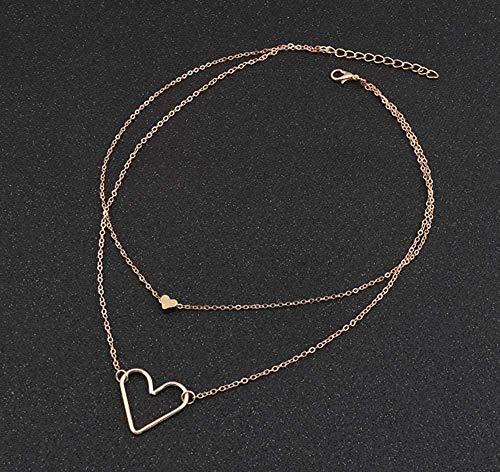 NC110 Collares y Colgantes de Corazones de Amor con Lentejuelas pequeñas Huecas de Doble Capa de Color Dorado Punk para Mujer tamaño 40 + 5cm del día de San Valentín YUAHAOJIGE8