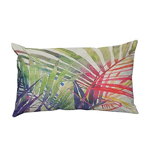 ROOPE Pillowcase Green Leaves Print Linen Cotton Sofa Cushion Cover Home Decor (Color : C, Size : 30cm*50cm)