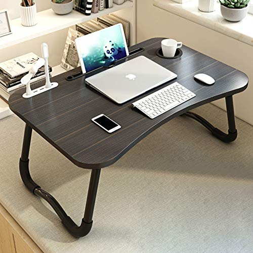 MGsten Laptop Bed Desk, Portable Lap Desk with Beverage Holder, Foldable Computer Desk with USB Ports, Multifunction Ergonomic Standing Lap Table Tray in Couch/Floor/Office/Hospital(Mini Lamp & Fan)