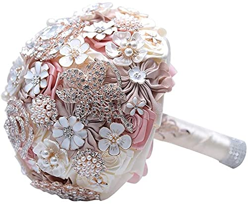 Sgxiyue Seda Wedding Flowers Rhinestone Jewelry Blush Pink Broche Ramo Oro Brocha Broche Vestido de Novia Boda Bouquet