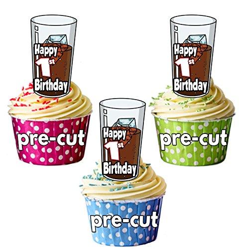 PRECUT Cola en Ice Drink - 1e Verjaardag - Eetbare Cupcake Toppers/Cake Decoraties (Pak van 12)