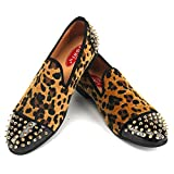 XQWFH Mens Leopard Loafers Leather Embroidery Spiked Slip on Dress Shoes Slipper Luxury Fashion Penny Prom