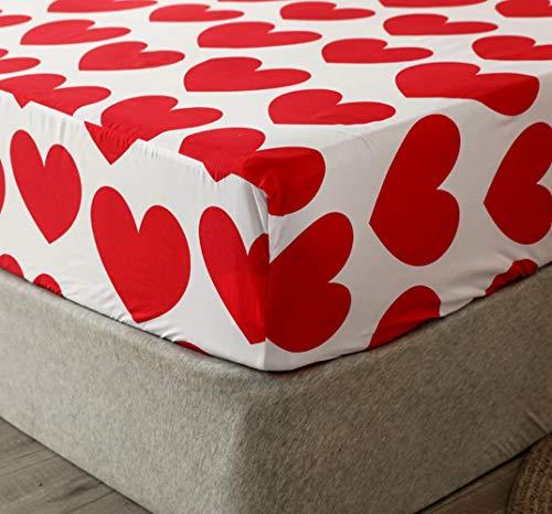 Chickwin Sábana Bajera Ajustable Colchones, 100% Poliéster Suave Cómoda Transpirable Tela - Blume Impresión - Elástico en el Borde Bolsillo Profundo 30cm (corazón Rojo,150x200x30cm)