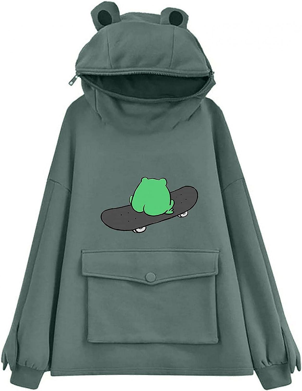 ONHUON Cute Hoodies for Women,Womens Frog Printed Sweatshirt Long Sleeve Tops Loose Hoodies Teens Girls Casual Pullover