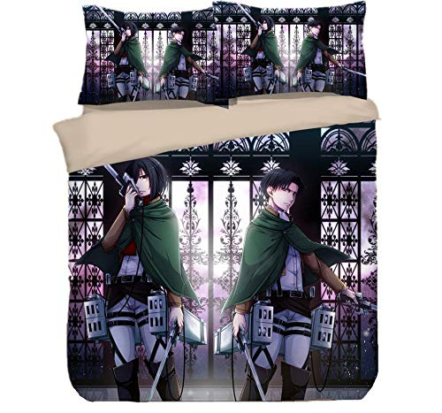 AmenSixye Attack on Titan Anime Bedding Cover Bedding Set Duvet Cover Cartoon Giant Comforter Bedding Sets Bed Linen Bed Set (NO Sheet),180x210cm(3pcs)