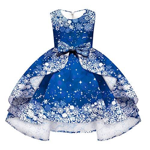 IMEKIS Vestido de Navidad para niñas con estampado de Navidad, reno de muñeco de nieve, disfraz de cosplay de...