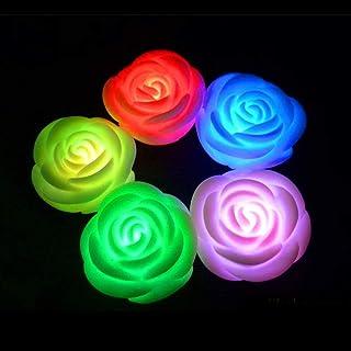 PIXNOR - 4 velas LED de color rosa y flor de colores florales night Light romántica San Valentín ambiente luz fiesta decoración para boda Año Nuevo (blanco)