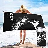 Toalla de Playa 27.5 'X 55',Kungfu Ultra Suave Arena Microfibra Portátil Absorbente de Agua Multi Microfibra Sin Arena Toalla de Playa Manta-Taekwondo Kung Fu2