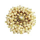 Ratna creation SANARA Indian Bollywood Gold Plated Pearl Jadau Ring Women Wedding Ruby Stone Adjustable Polki Ring Jewelry
