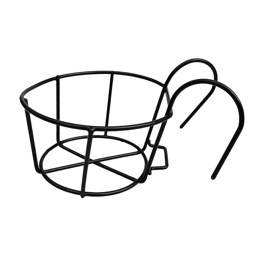 またねぬれたりんごガーデニング 鉄ワイヤーはバルコニーフラワーポットブラケットホルダーボックスは、手すりシェルフパティオとバルコニーインテリアラックスタンドハンギング - ブラック