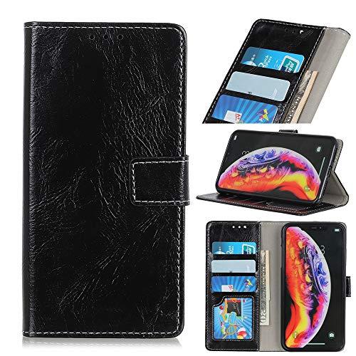 BAIYUNLONG - Funda de piel con tapa horizontal para OnePlus 7 Pro (con soporte y ranuras para tarjetas, marco y cartera), color negro