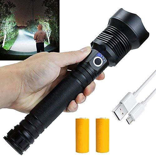 WJLGKSZG Linterna LED Recargable, linternas de 90000 lúmenes de Alta lúmenes, linternas Super Brillantes de 3 Modos con batería - Carga USB, Linterna táctica Impermeable para Acampar