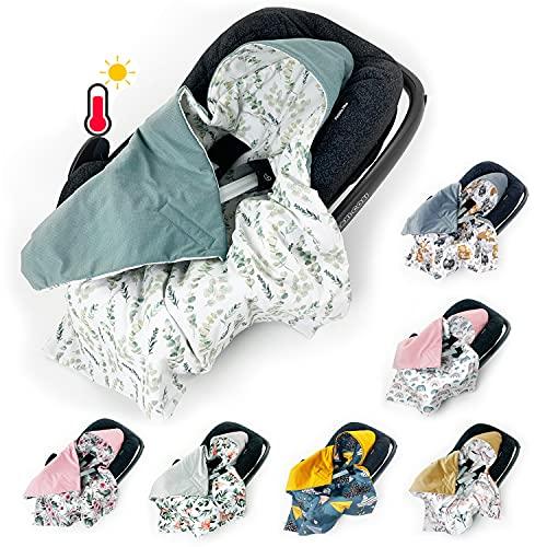 BABEES Einschlagdecke für Babyschale Autositz FRÜHLING SOMMER, Universal z.B. Maxi-Cosi Römer Cybex, Velvet Baby Decke mit Klettverschluss Babytragen leicht Übergangssaison eukalyptus