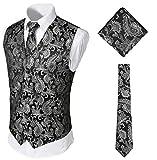 WHATLEES Herren Klassische Paisley Jacquard Weste & Krawatte und Einstecktuch Weste Anzug Set, Aa0213-silver, M