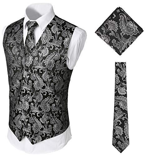 WHATLEES Herren Klassische Paisley Jacquard Weste & Krawatte und Einstecktuch Weste Anzug Set, Aa0213-silver, XL