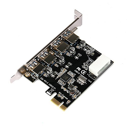 Xusun PCI-E to USB 3.0 Adapter, PCI-E to USB 3.0 4-Port PCI Express Expansion Card 4Pin Power Supply Interface