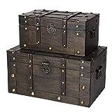 SLPR Alexander Wooden Chest - Set of 2 | Decorative Storage Trunk with Lid (Rustic Brown) | Antique Wood Chest
