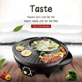 LIVEN Electric Grill with Hot Pot, Non-stick coating surface, Hot Pot with Glass