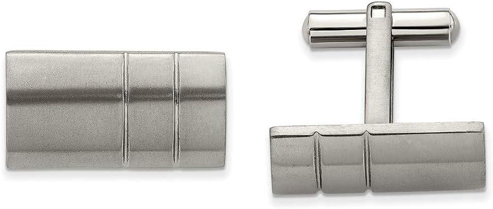 Solid Titanium Men's Cufflinks - 12mm x 22mm
