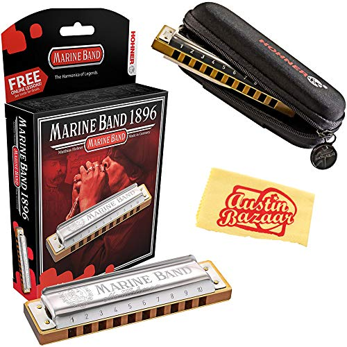 Hohner Marine Band 1896 Classic Harmonica - Key of C Bundle with Carrying Case and Austin Bazaar Polishing Cloth