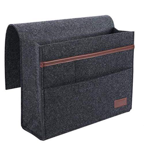 XIXIAO Nachttisch-Caddy-Tasche aus Filz, Aufbewahrungstasche zum Aufhängen, für Fernbedienungen, Handys, Tablets und mehr