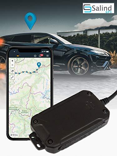 Salind GPS-Tracker Auto, Motorrad und Fahrzeuge mit SIM-Karte, kostenlose App für Android und iPhone, Live-Ortung in Echtzeit, Mini mit internem Akku