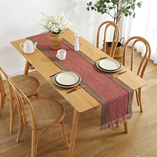Cozomiz Camino de mesa moderno de lino con borla, manteles decorativos de arpillera para cenas, fiestas, bodas de primavera y uso diario, 37,8 x 238,8 cm, color rojo
