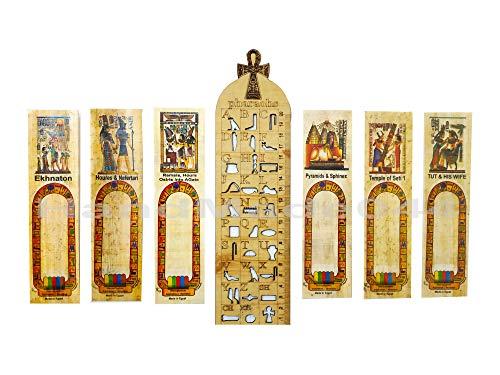 10 Papyrus Lesezeichen + 1 Holzlineal ägyptisch schreiben Sie Ihren Namen in Hieroglyphisch