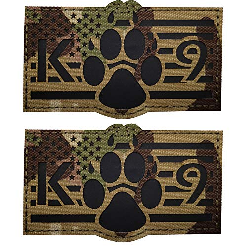 IR Infrared USA Flag K9 Dog Handler Paw K-9 Tactical Morale Fastener Reflective Patch, Hook and Loop Backing for Harness Vest, Bundle 2 Pieces, 3.54 x 2.17 Inch