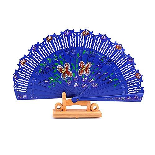 FairyLi folding fans Spanisches altmodisches Hochzeitskleid, handbemalt, faltbar, Holz, blau, 8 6 inches