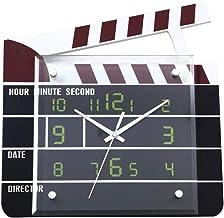 Tcaijing Reloj de Pared,Decoración del Campo de la película de Madera Mudo Reloj de Pared de Cuarzo Mudo no Tic-TAC fácil de Leer Reloj de casa/Oficina/Escuela