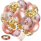 Blocesa Rose Gold Balloons- 50 pcs 12 inch Rose Gold Balloon Garland Kit Rose Gold Confetti Balloons Rose Gold Party Balloons for Birthday Wedding Baby Shower Party, Bridal shower Decorations.