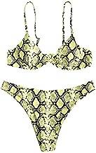 ZAFUL Women Knotted Snakeskin Print High Cut Bikini Set