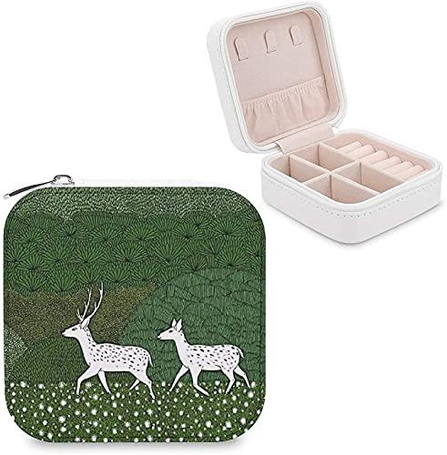 CHENWE Caja organizadora de viaje de joyería verde ciervo organizador de joyas mini portátil caja de almacenamiento de joyas para mujeres