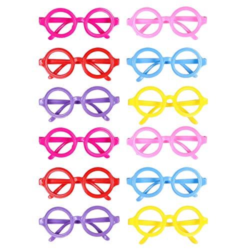 LUOEM 12 Piezas Kids Party Favor Lentes Gafas Cute Candy Gafas Frame Wizard Nerd sin Lentes para cumpleaños Fiesta de Bienvenida al bebé Suministros de Cosplay (Color Aleatorio)