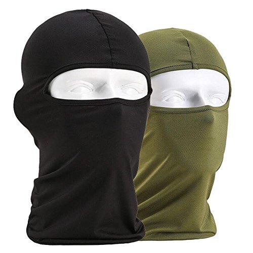 Heall Máscara Sombrero de Vellón Esquí Resistente al Viento Deportes al Aire Libre Hat Cuello Caliente Ciclismo Cap 2 Piezas Negro Verde