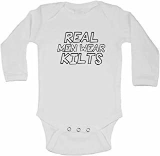 Real Men Wear Kilts - Personalised Long Sleeve Baby Vests Bodysuits Baby Grows for Boys, Girls - White - 18-24 Months