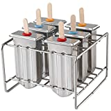Chasgo Set of 6 Stainless Steel Popsicle Mold BPA Free, Metal Ice Pop Mold Lolly Popsicle Maker Mold