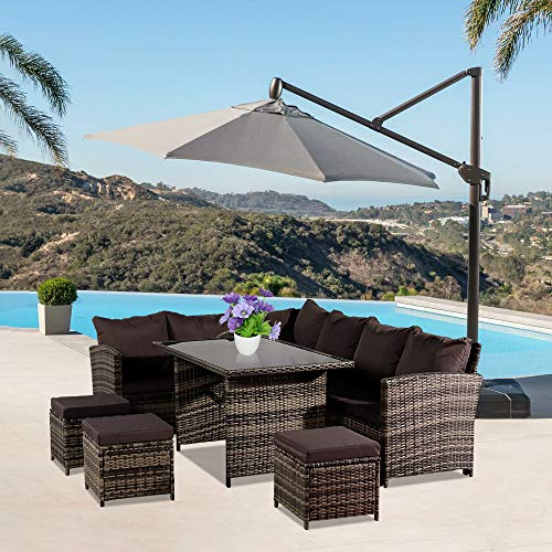 9 Seat Dining Furniture Table Set - Outdoor Rattan Garden Furniture Set Patio Conservatory Sofa Coffee Table (Brown)