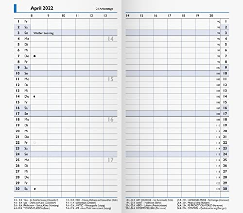 BRUNNEN 1075000002 Taschenkalender/Monats-Sichtkalender Modell 750 Ersatzkalendarium, 2 Seiten = 1 Monat, 8,7 x 15,3 cm, Kalendarium 2022