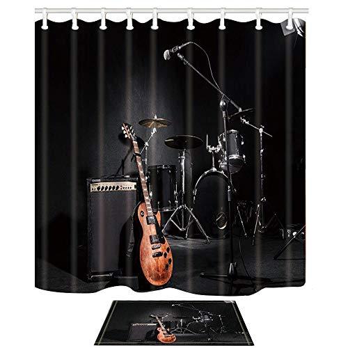 vrupi Serie música Cortina Ducha Concierto Rock Instrumento Musical Guitarra Tambor Patrón Negro Tejido poliéster Cortina Ducha Retro Alfombrilla Alfombra baño Alfombra Puerta Juego Alfombrillas