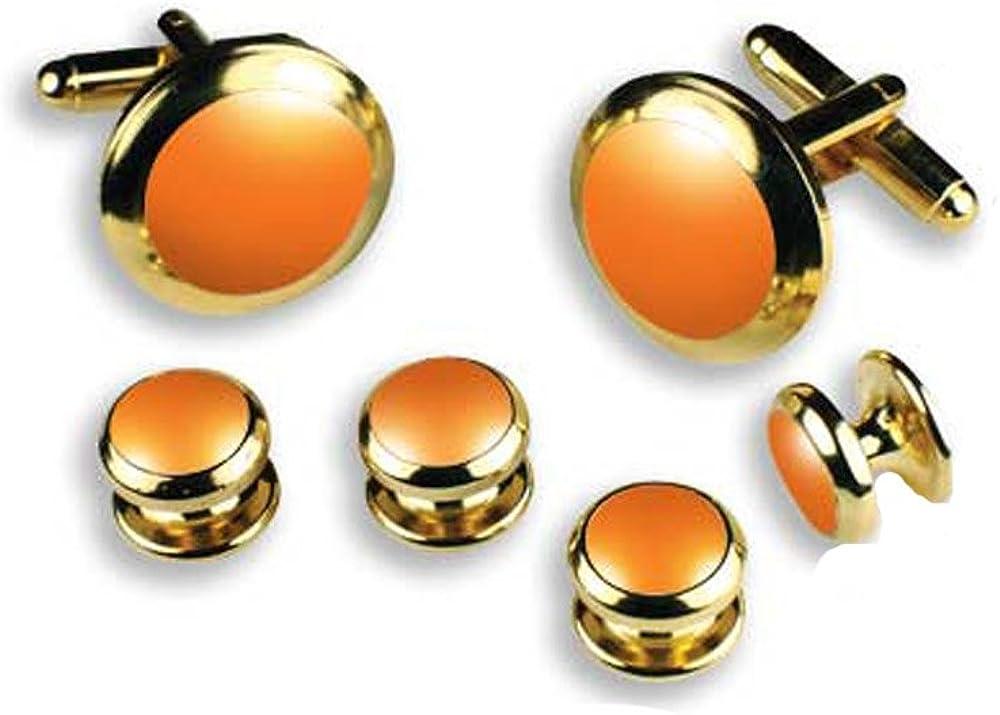 Orange Tuxedo Cufflinks and Studs